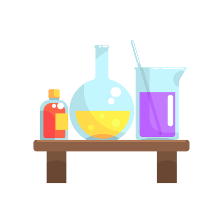 Laboratory chemicals in glassware stand on wooden shelf. Flask, beaker and small bottle with lid. Cartoon flat vector