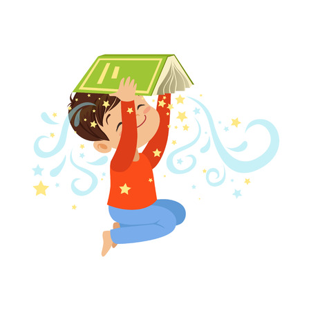 Cartoon little boy holding open magic book over his head. Cute kid character in flat style. Children imagination and dreams. Vector illustration Çizim