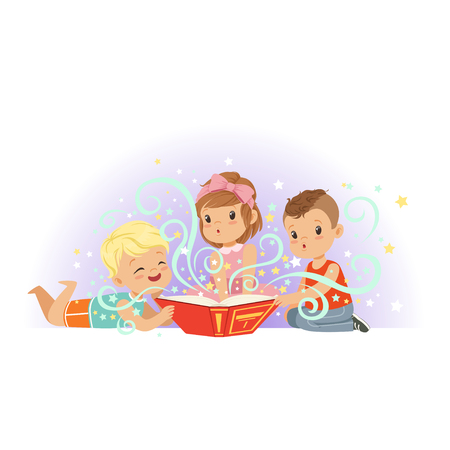 Group of little kids, boys and girl reading magic book of fairy tales. Cartoon children characters with fabulous imagination. Isolated flat vector