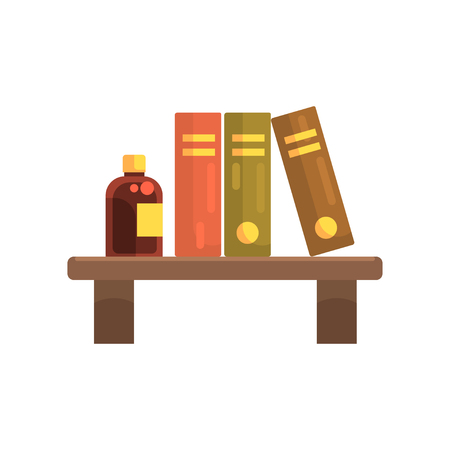Wooden shelf in laboratory with science literature books and glass bottle with liquid. Cartoon flat vector design icon