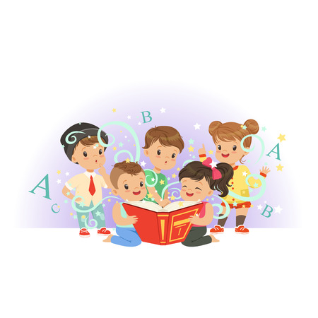Adorable preschool kids, boys and girls reading educational magic book. Happy and interesting childhood. Isolated flat vector illustration