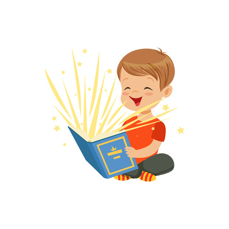 Little boy sitting on the floor with magic book radiating bright sparks and stars. Kid character reading interesting fairy tales. Isolated flat vector