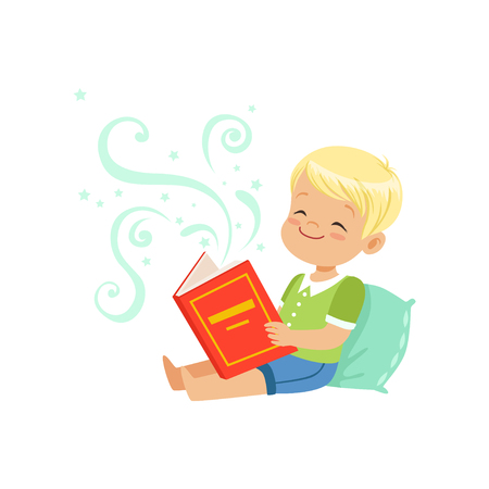 Illustration of little kid sitting on pillow with fantasy book in hands. Cartoon boy character with fabulous imagination. Flat vector illustration