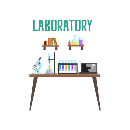 Modern laboratory workplace. Equipment for scientific experiments and research microscope, test tubes, spirit lamp, laptop. Books and glassware with liquids on shelves. Isolated flat vector Vectores