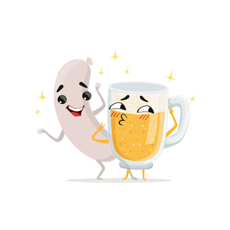 Grilled sausage and mug of beer with happy faces. Cartoon funny characters. Food and drink in flat style