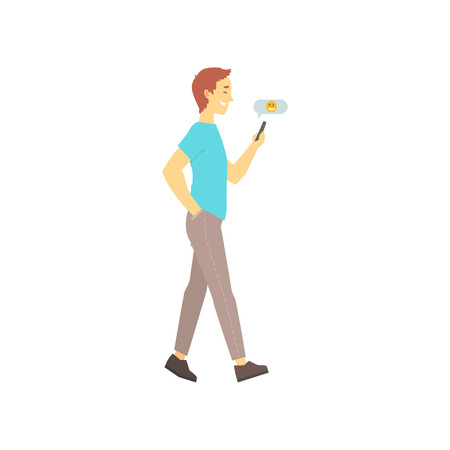 Man walking and sending message on his phone. Online dating service concept with boy talking in chat. Vector in flat style isolated on white. Illustration
