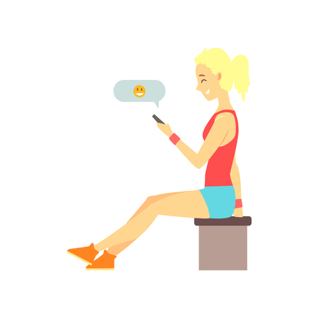 Cute blonde girl sitting and sending smiling emoji. Online dating service or website concept. People finding love. Vector illustration