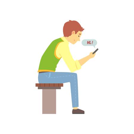 Junger braunhaariger Junge, der Hi-Mitteilung an seinem Telefon sendet. Leute, die Liebe unter Verwendung des Liebeschats finden. Bunte Illustration des Vektors in der flachen Art Standard-Bild - 90619797