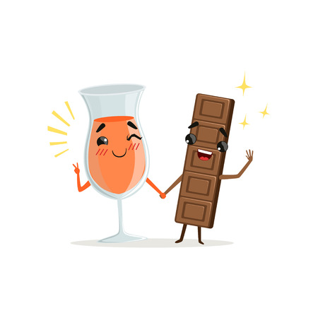 Cheerful glass of orange drink and chocolate bar holding by hands. Cartoon food and drink characters. Cute sweet couple. Flat vector illustration Vectores