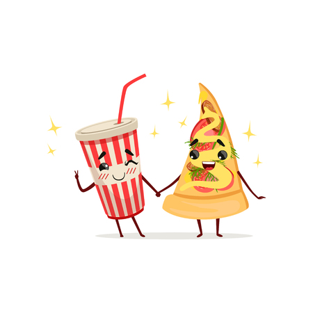 Funny cocktail and slice of pizza characters holding hands. Fast food concept. Isolated flat vector illustration Vectores