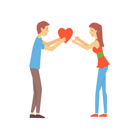 Young boy giving his heart to cute girl. Man and woman attracted to each other. Love chat promo concept. Vector illustration in flat style Illustration