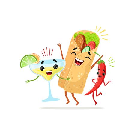 Grappige stripfiguren van rode peper, cocktail en burrito samen plezier hebben. Eten en drinken vector in platte ontwerp