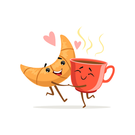 Comic characters of hugging croissant and hot cup of coffee. Cute breakfast concept. Love food icon. Cartoon vector illustration. Flat design for print, card, poster, sticker, cafe or bakery shop Vectores