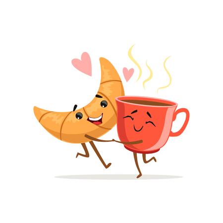 Personajes cómicos de abrazar croissant y una taza de café caliente. Lindo concepto de desayuno. Icono de comida de amor Ilustración de vector de dibujos animados. Diseño plano para impresión, tarjeta, póster, pegatina, cafetería o panadería Ilustración de vector