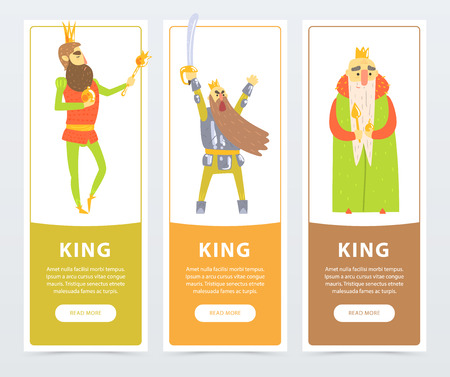 Vertical banners set with different kings kind, self-confident with scepter, warlike with sword. Comic flat characters Stock Photo