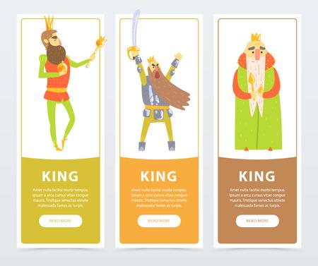 Verticale spandoeken met verschillende koningen, zelfverzekerd met scepter, oorlogszuchtig met zwaard. Komische platte karakters Stockfoto
