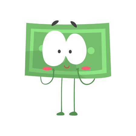 Cute shy dollar with legs, arms and big eyes. Funny money character in flat design. Vector illustration for sticker, getting card, poster or print