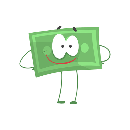 Cartoon money character standing with arms akimbo and smiling face. Self-confident green dollar in flat style. Financial strength concept. Vector illustration