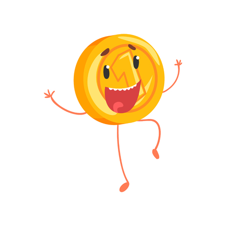 Joyful golden coin jumping with hands up. Cartoon money character with legs and arms. One cent or penny icon in flat style. Isolated vector illustration Illustration