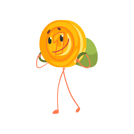 Smiling one cent character walking with backpack on back. Cartoon golden penny icon. Saving money and banking concept. Flat vector illustration