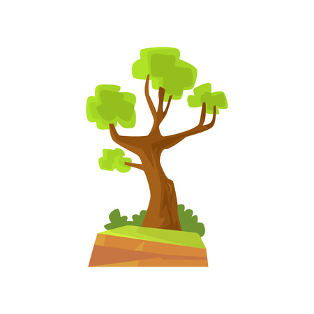Landscape scene with forest or park tree. Deciduous tree with green foliage. Hand drawn woodland nature design element. Flat vector botanical illustration Ilustrace