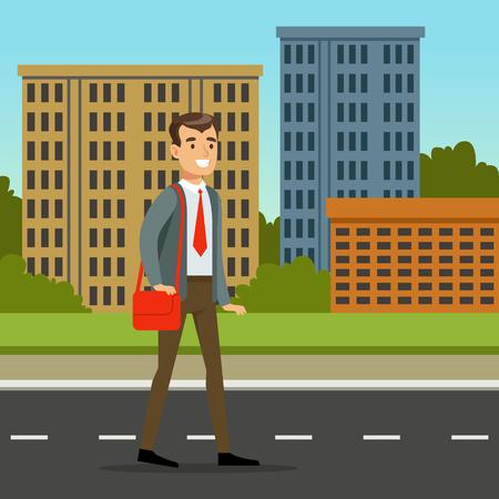 빨간색 가방 거리 걷고 공식 옷에서 행복 한 사람. 도시 건물 배경입니다. 평면 만화 벡터 일러스트 레이 션.
