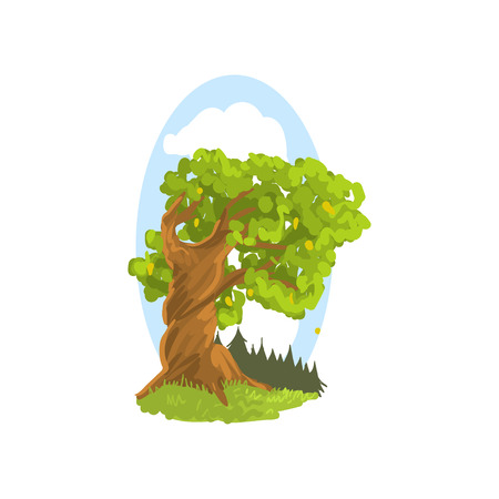 Spring or summer landscape with forest twisted tree, blue sky background. Deciduous tree, green foliage. Hand drawn woodland nature. Flat vector Ilustrace