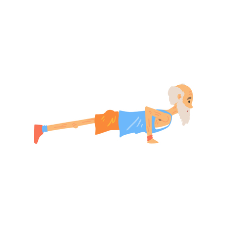 Side view of old man doing push ups. Sports grandfather character with gray beard in blue t-shirt and orange shorts. Physical activity. Isolated flat vector Illustration