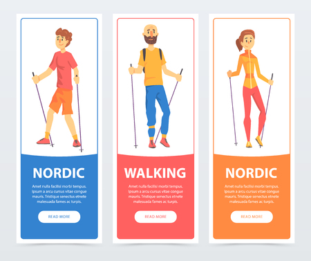 Set of banners with people Nordic walking. Health-promoting physical activity. Teenager boy, man and woman characters with sticks. Colorful flat vector