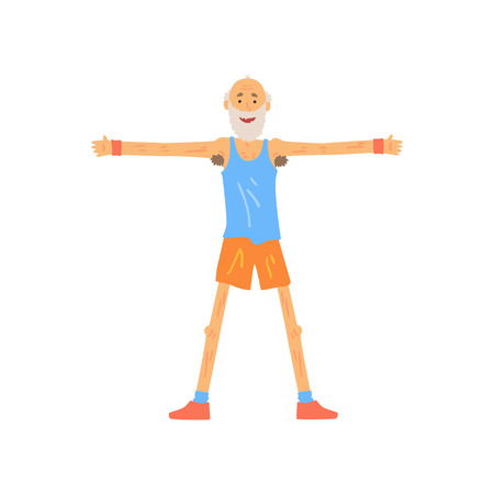 Skinny old man stretching before gymnastics training. Bearded elderly male standing with feet shoulder-width apart and doing side arms raising. Healthy lifestyle. Flat vector