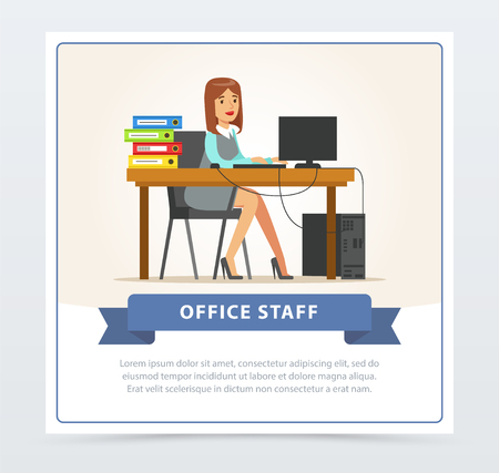 컴퓨터에서 작동하는 여자 회사원 문자입니다. 비즈니스 여자 또는 폴더와 그녀의 책상에 앉아 사무원. 평면 만화 벡터 일러스트 레이 션.