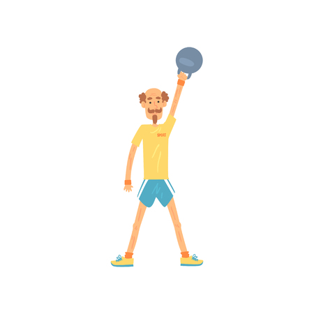 Adult man lifting kettlebell above head. Male doing strength exercise with weight equipment. Elderly sportsmen with mustache and beard. Isolated flat vector. Çizim
