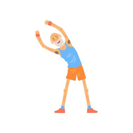 Uomo anziano attivo che allunga prima dell'allenamento di ginnastica. Carattere anziano che fa esercizio di curve laterali. Nonno barbuto in maglietta e pantaloncini. Vettore piatto Archivio Fotografico - 90780502