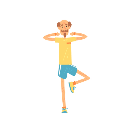 Elderly male standing on one leg and raising arms at shoulder level. Old man character with mustache and beard in sportswear. Sport lifestyle. Isolated flat vector Illustration
