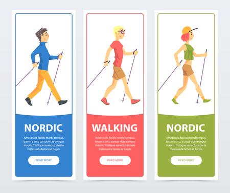 ノルディック ウォーキングの人とカードのカラフルなコレクションです。屋外アクティブな若者たち。スポーツと健康的なライフ スタイルのコンセ