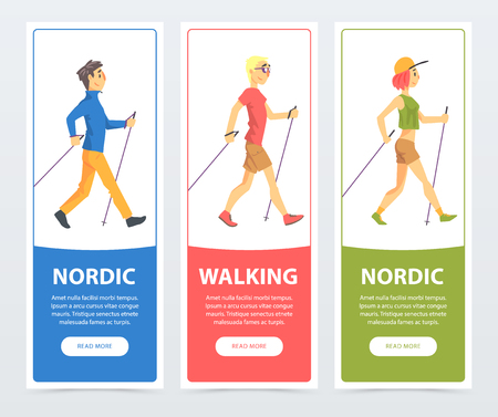 Colorful collection of cards with people Nordic walkers. Active young people outdoor. Sport and healthy lifestyle concept. Cartoon flat vector characters