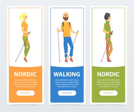 Cartoon verticale banners met jongeren Nordic Walking-personages. Lichamelijke activiteit en plezier vrijetijdsconcept. Platte vector