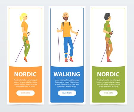 Cartoon vertical banners with young people Nordic walking characters. Physical activity and fun leisure concept. Flat vector