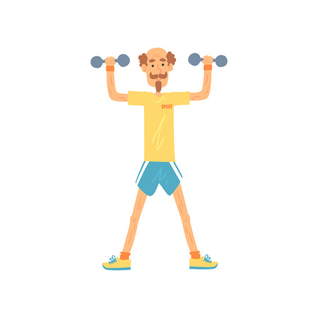Old man character standing with feet hip-distance apart and raising arms with dumbbells. Elderly male in t-shirt and shorts. Physical activity. Flat vector Ilustração