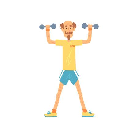 Oude man karakter staande met voeten heup-afstand uit elkaar en het verhogen van armen met halters. Oudere man in t-shirt en korte broek. Fysieke activiteit. Platte vector Stock Illustratie