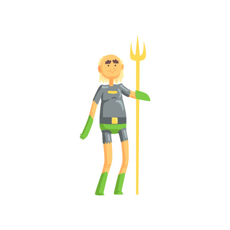 Toothless old man superhero standing and holding golden wand. Funny cartoon elderly character in hero costume with underpants and gloves. Isolated flat vector Illustration