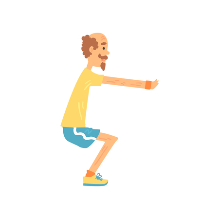 Athletic old man showing squat exercise, side view. Adult male character doing morning workout in sports wear. Gymnastics and healthy lifestyle. Flat vector