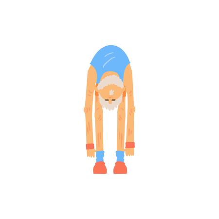 Oude bebaarde man doet teen rekken uitrekkende oefening. Atletische grootvader karakter in sportkleding. Lichamelijke activiteit en een gezonde levensstijl. Platte vector ontwerp