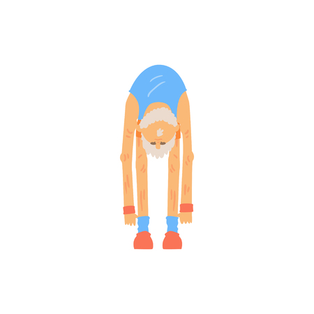Old bearded man doing toe touch stretching exercise. Athletic grandfather character in sports wear. Physical activity and healthy lifestyle. Flat vector design