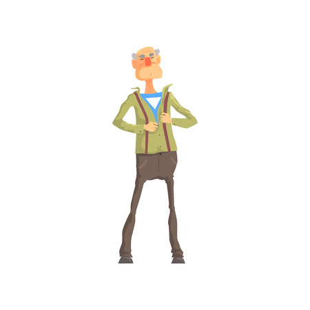 Elderly superhero revealing his true identity by tearing his shirt. Inspiring and heroic role model. Cartoon brave old grandfather character. Flat vector Illustration