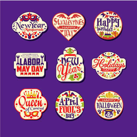 Set of colorful flat retro festive  label design. New Year, St Valentine s Day, happy birthday, Labor May day, carnival. Vector collection Illustration