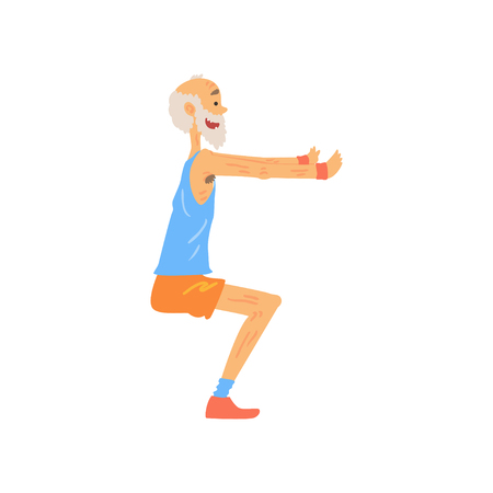 Athletic old man doing squat exercise. Cartoon elderly character with gray beard in sport outfit. Training outdoors. Healthy lifestyle. Side view. Isolated flat vector Çizim