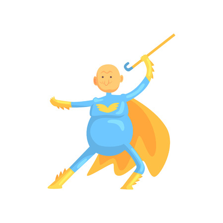 Funny character of grandfather in fighting pose. Elderly man in superhero costume with yellow cloak and walking stick in hand. Isolated flat vector