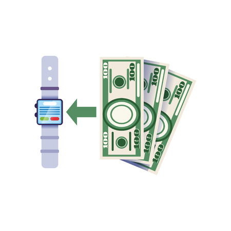 Using smartwatch to replenish bank account. Wearable payment device icon. Online banking concept. Infographic design element. Isolated flat vector 向量圖像