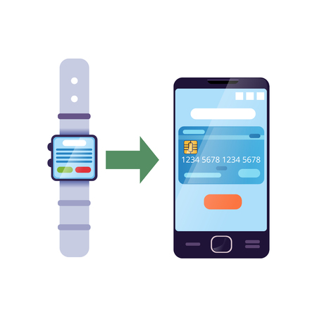 Money transferring by smartwatch to online bank account on smartphone. Banking service concept. Personal financial management application. Modern flat vector isolated on white Stock fotó - 90786328